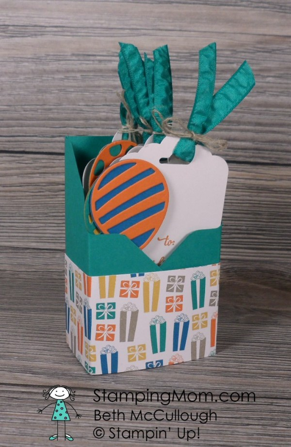 Stampin Up Birthday gift tags and box made with the Party Animal Suite from the 2017 Occasions catalog, designed by demo Beth McCullough. Please see more card and gift ideas at www.StampingMom.com #StampingMom #cute&simple4u