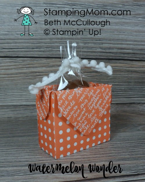 Stampin Up Dot Box in Watermelon Wonder designed by demo Beth McCullough. Please see more card and gift ideas at www.StampingMom.com #StampingMom #cute&simple4u
