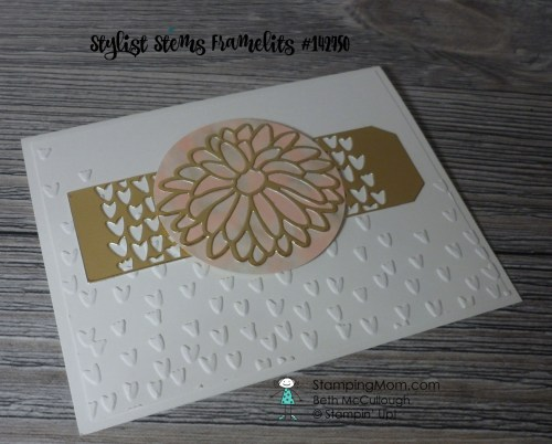 Stampin Up 50th Wedding Anniversary card made with the Stylish Stem Framelits and the So Detailed Thinlits designed by demo Beth McCullough. Please see more card and gift ideas at www.StampingMom.com #StampingMom #cute&simple4u