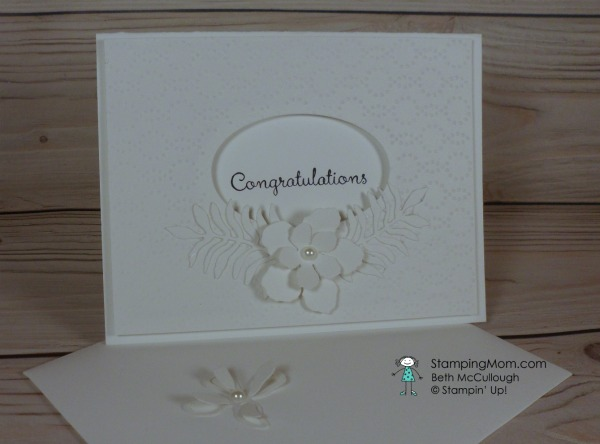 Stampin Up wedding card made with the Botanical Builders Framelits designed by demo Beth McCullough. Please see more card and gift ideas at www.StampingMom.com #StampingMom #cute&simple4u