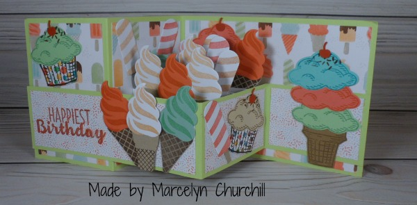 Double Z Fold Pop Up Card made by Marcelyn Churchill. Please see more card and gift ideas at www.StampingMom.com #StampingMom #cute&simple4