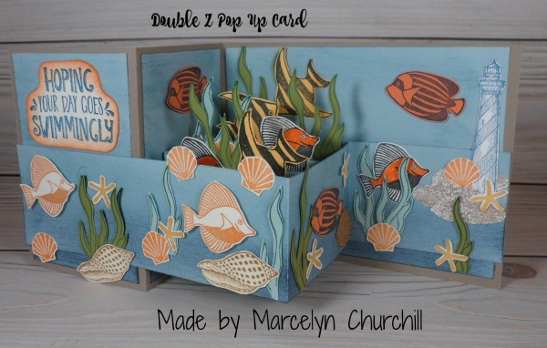 Double Z Fold Pop Up Card made by Marcelyn Churchill. Please see more card and gift ideas at www.StampingMom.com #StampingMom #cute&simple4u