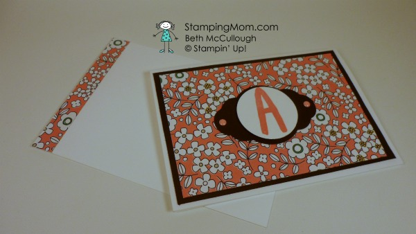 Stampin' Up monogram card designed by demo Beth McCullough. Please see more card and gift ideas at www.StampingMom.com #StampingMom #cute&simple4u