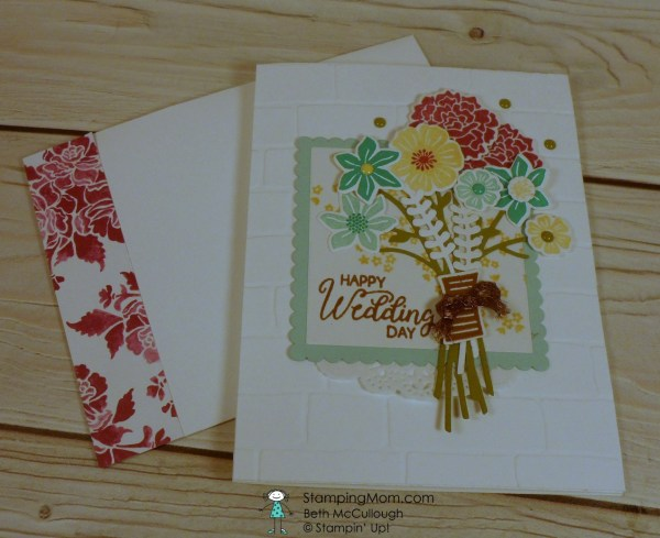 Stampin Up Beautiful Bouquet wedding card made by demo Beth McCullough. Please see more card and gift ideas at www.StampingMom.com #StampingMom #cute&simple4u