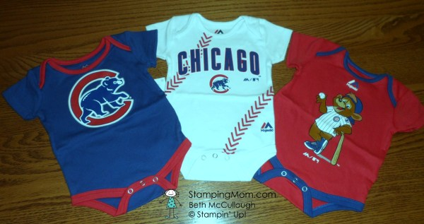 Chicago Cubs baby gift. Please see Stampin Up card and gift ideas made by demo Beth McCullough at www.StampingMom.com #StampingMom #cute&simple4u