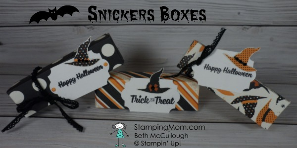 Stampin Up Halloween Snickers Boxes designed by demo Beth McCullough. Please see more card and gift ideas at www.StampingMom.com #StampingMom #cute&simple4u