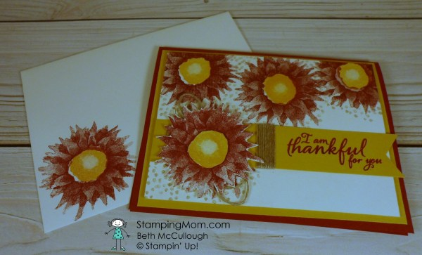 Stampin Up Painted Harvest card designed by demo Beth McCullough. Please see more card and gift ideas at www.StampingMom.com #StampingMom #clean&simple4u