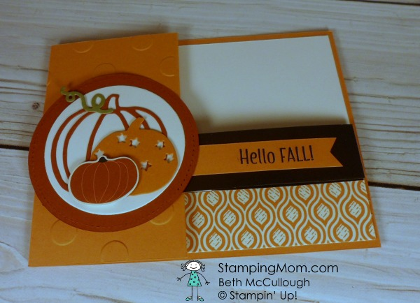 Stampin Up Fall card made with the Patterned Pumpkins Thinlits Dies designed by demo Beth McCullough. Please see more card and gift ideas at www.StampingMom.com #StampingMom #cute&simple4u