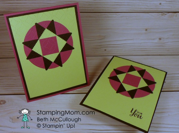 Stampin Up Quilt Builder Framelit card designed by demo Beth McCullough. Please see more card and gift ideas at www.StampingMom.com #StampingMom #cute&simple4u