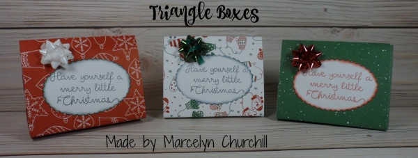 Stampin Up Triangle Boxes made by Marcelyn Churchill using the Be Merry Designer Series Paper (DSP). Please see more card and gift ideas at www.StampingMom.com #StampingMom #cute&simple4u