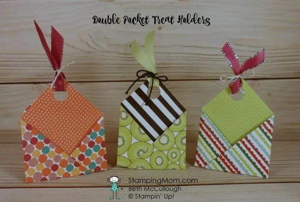 Stampin Up Double Pocket Treat Holder designed by demo Beth McCullough. Please see more card and gift ideas at www.StampingMom.com #StampingMom #cute&simple4u
