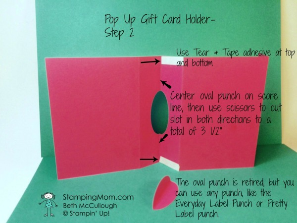 Stampin Up pop up gift card holder directions-step 2 designed by demo Beth McCullough. Please see more card and gift ideas at www.StampingMom.com #StampingMom #cute&simple4u
