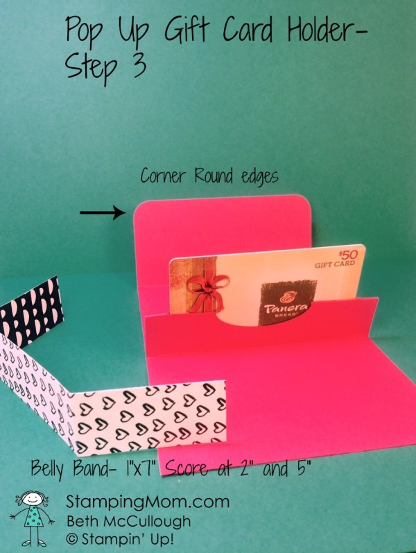 Stampin Up pop up gift card holder directions-step 3 designed by demo Beth McCullough. Please see more card and gift ideas at www.StampingMom.com #StampingMom #cute&simple4u