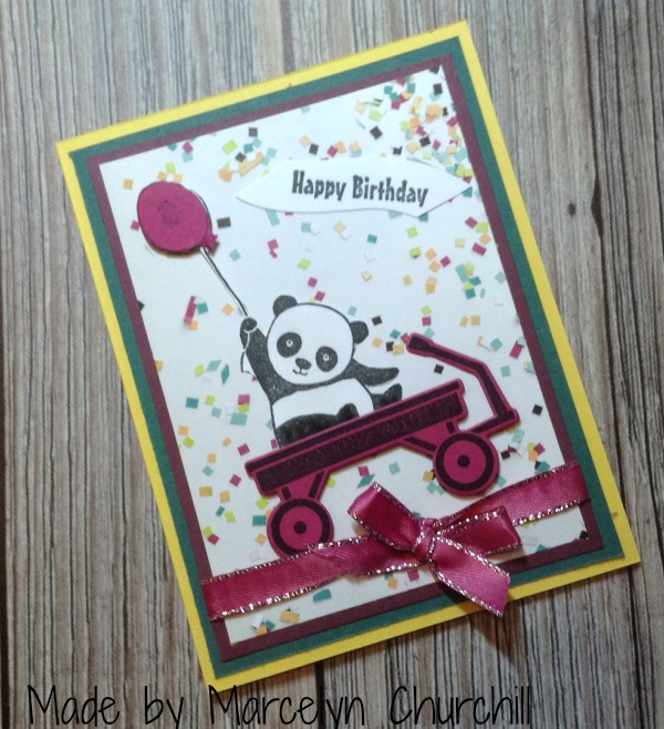 Birthday Party Panda card made by demo Marcelyn Churchill. Please see more card and gift ideas at www.StampingMom.com #StampingMom #cute&simple4u
