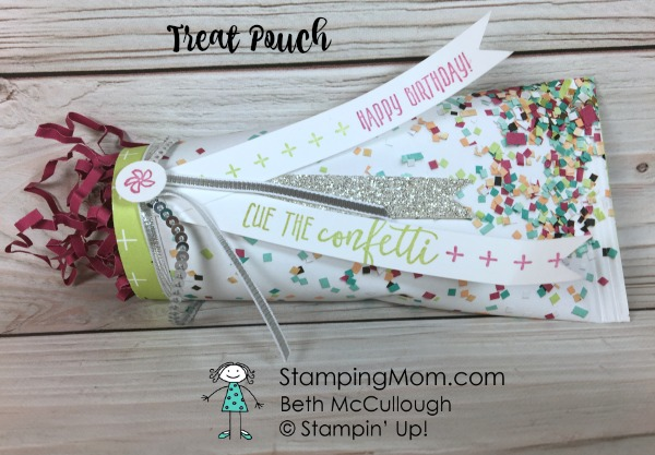 Stampin Up Picture Perfect Birthday Treat Pouch designed by demo Beth McCullough. Please see more card and gift ideas at www.StampingMom.com #StampingMom #cute&simple4u