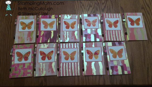 Stampin Up Brusho Butterfly Notebooks with Painted with Love DSP made by demo Beth McCullough. Please see more card and gift ideas at www.StampingMom.com #StampingMom #cute&simple4u