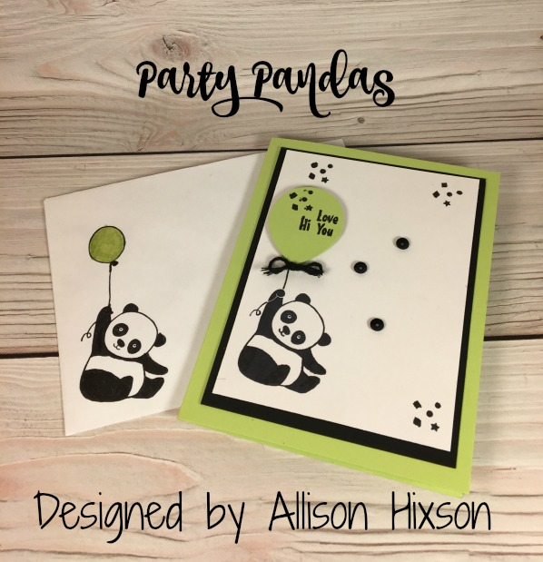 Stampin Up Party Pandas Birthday card designed by Allison Hixson. Please see more card and gift ideas at www.StampingMom.com #StampingMom #cute&simple4u
