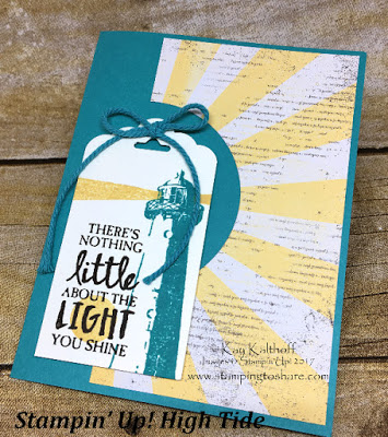 Cupcakes and Carousels Paper with Stampin' Up! High Tide Stamp Set. This card features a Lighthouse and a Sunburst. Created by Kay Kalthoff with Stamping to Share.