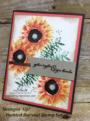 Stampin' Up! Painted Harvest Stamp Set Thanksgiving card by Kay Kalthoff with Stamping to Share.