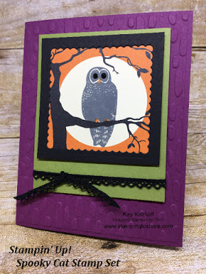 Stampin' Up! Spooky Cat Owl Halloween Card by Kay Kalthoff with Stamping to Share.