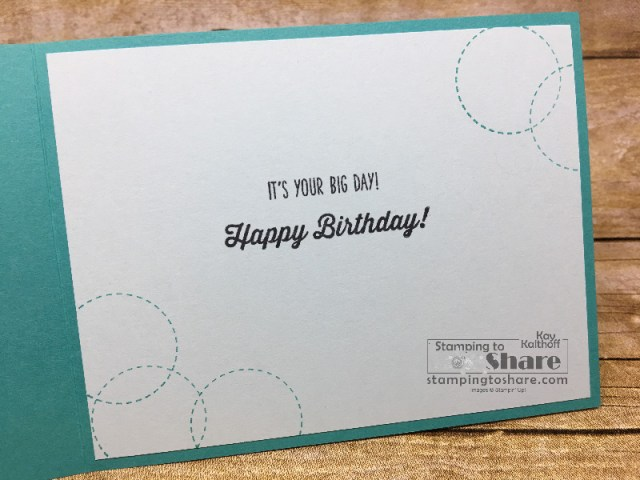 A Good Day Birthday Card with a Mini Embroidery Hoop by Kay Kalthoff. Inside Panel used Birthday Banners stamp set. #stampingtoshare