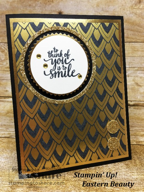 Stampin' Up! Eastern Beauty with Faux Black Stainless Steel on a Make It Monday #1 Facebook LIve with Kay Kalthoff for #stampingtoshare