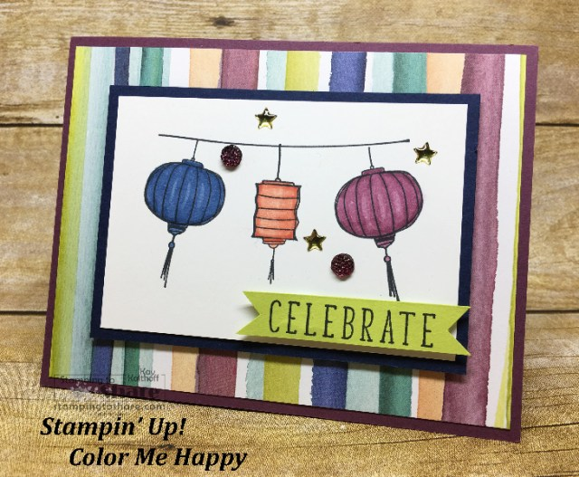 Stampin' Up! Color Me Happy for Summer Celebrations! Created by Kay Kalthoff with FREE Project Sheet for #stampingtoshare