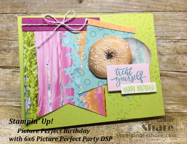 Stampin' Up! Picture Perfect Birthday with Picture Perfect Party DSP featuring donuts! Created by Kay Kalthoff with #stampingtoshare