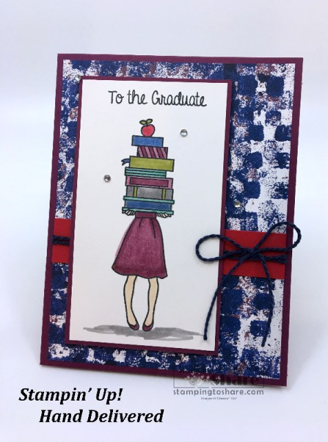 Stampin' Up! Hand Delivered Graduation Card with FREE Project Sheet created by Kay Kalthoff for #stampingtoshare