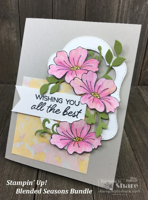 Spring or Summer Blended Seasons Bundle Wishing You All the Best with Watercolor Pencils Assortment 2 with Kay Kalthoff #stampingtoshare