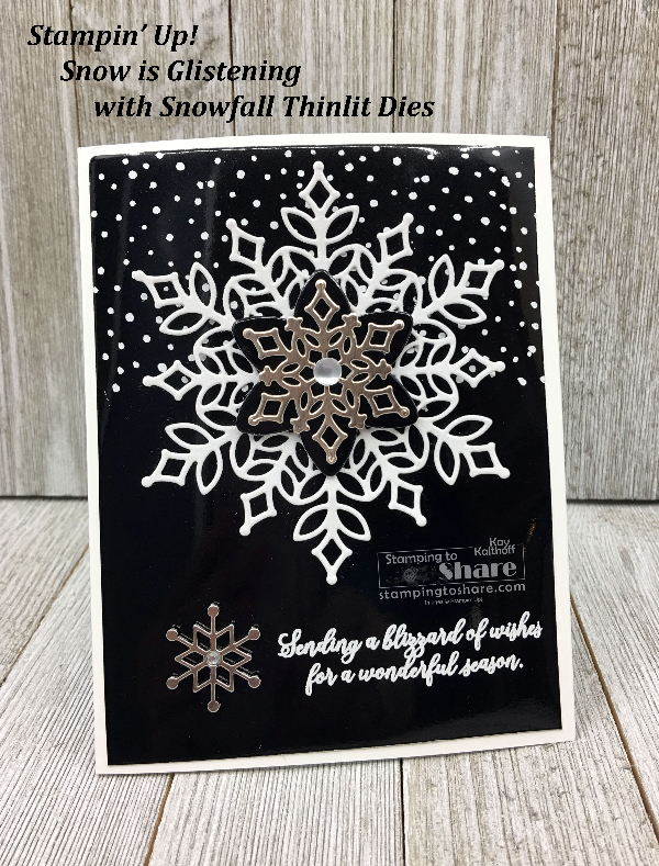 Stampin' Up! Snow is Glistening Card in Black and White using Black Foil and White Velvet created by Kay Kalthoff with FREE PDF for #stampingtoshare