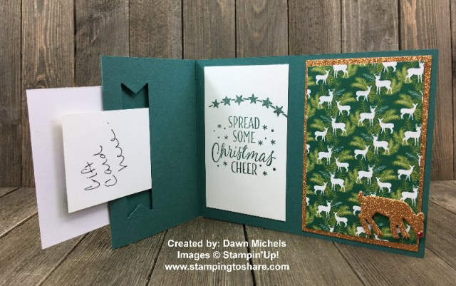 Gift Card Holder Created by Dawn Michels for Stamping to Share Demo Meeting Swap using Stampin' Up! Under the MIstletoe Designer Series Paper #stampingtoshare