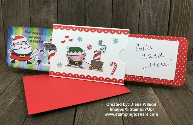 Slider Gift Card Holder Created by Diana Wilson for Stamping to Share Demo Meeting Swap using Stampin' Up! Signs of Santa Bundle and Santa's Workshop Specialty Designer Series Paper #stampingtoshare