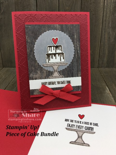 Stampin' Up! Piece of Cake Bundle Birthday Card created by Kay Kalthoff for #stampingtoshare