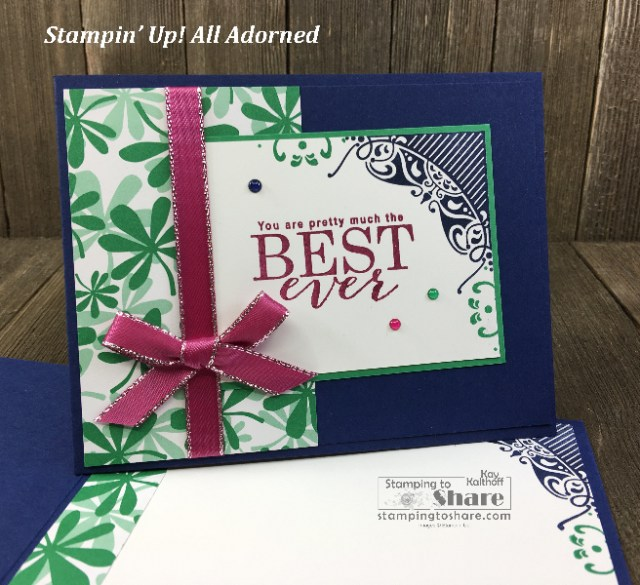 Stampin' Up! All Adorned with Happiness Blooms DSP by Kay Kalthoff for #stampingtoshare
