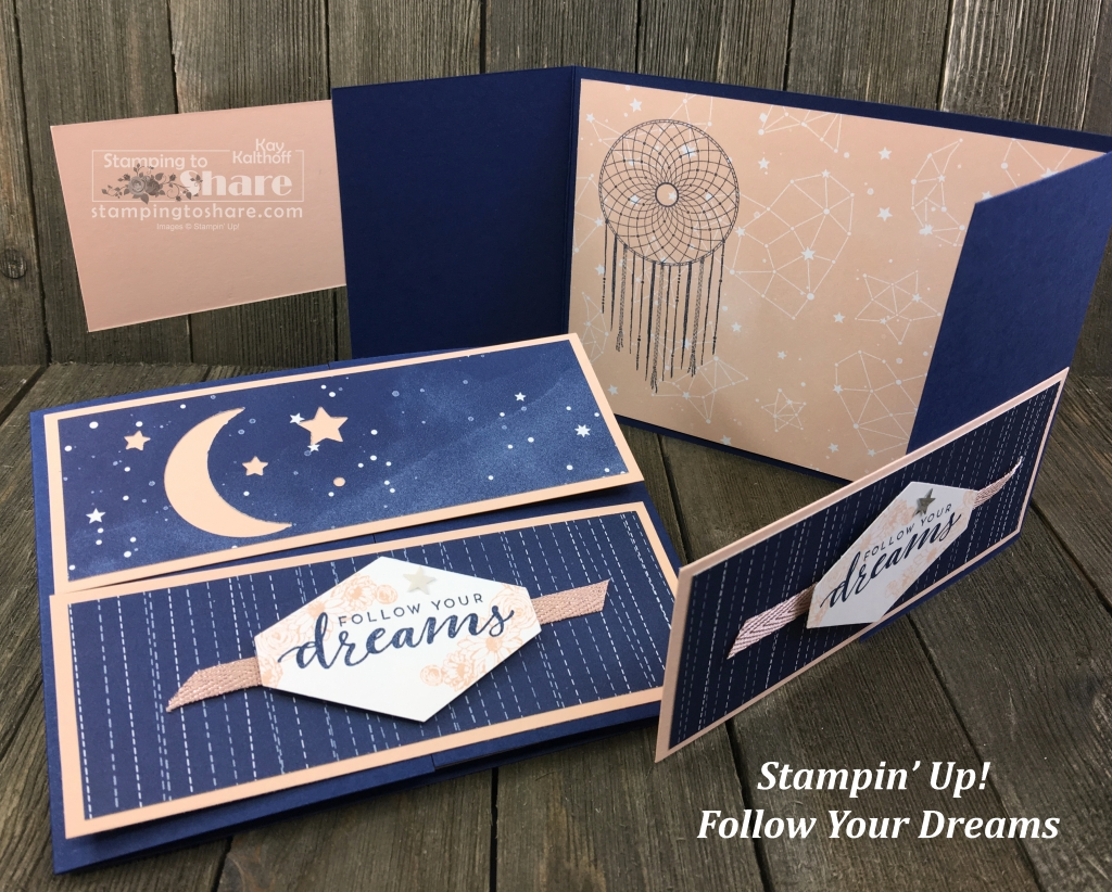Stampin' Up! Follow Your Dreams Gatefold Crossover Card by Kay Kalthoff for #stampingtoshare