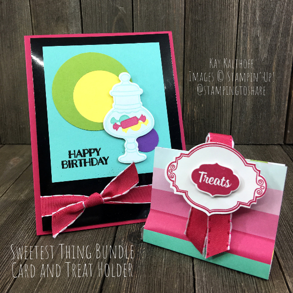 Stampin' Up! Sweetest Thing Card and Treat Holder by Kay Kalthoff for #stampingtoshare