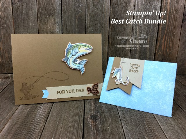 Stampin' Up! Best Catch Bundle with the Envelope Punch Board by Kay Kalthoff for #stampingtoshare