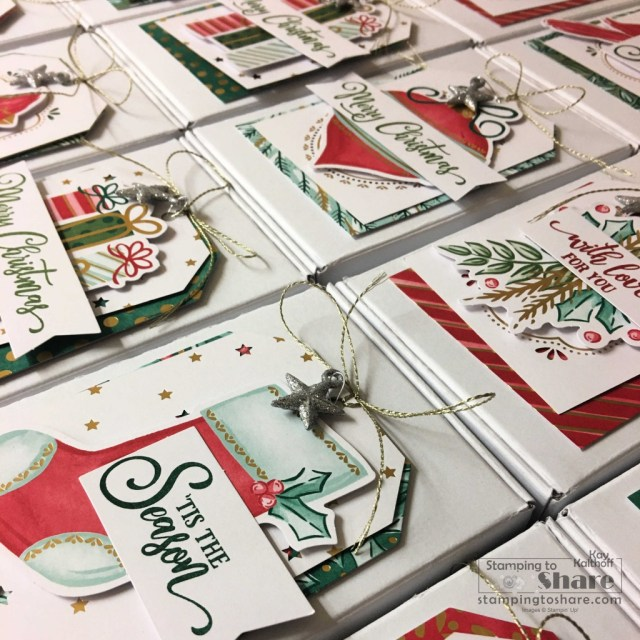 Stampin' Up! Tag Buffet Project Kit Christmas Tags and Mini Paper Pumpkin Boxes created by Kay Kalthoff with Stamping to Share