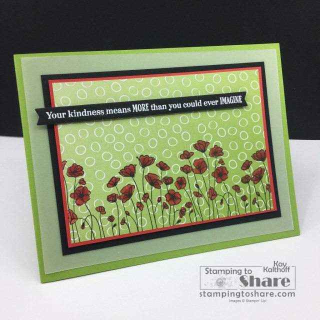 Many Messages Bundle with Painted Poppies and Oh So Ombre Sale-a-bration Paper. Created by Kay Kalthoff with Stamping to Share