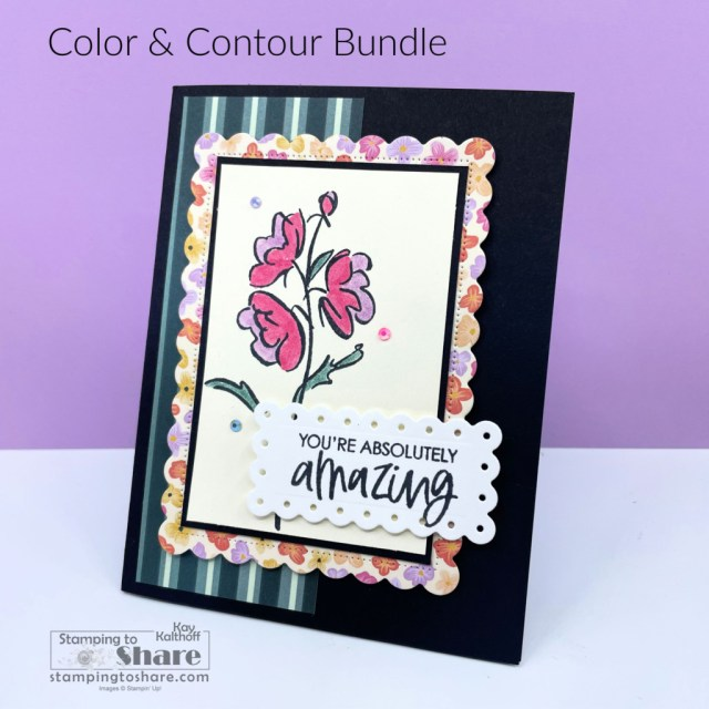 Color & Contour Bundle from Stampin' Up! with Pansy Petals Designer Series Paper.