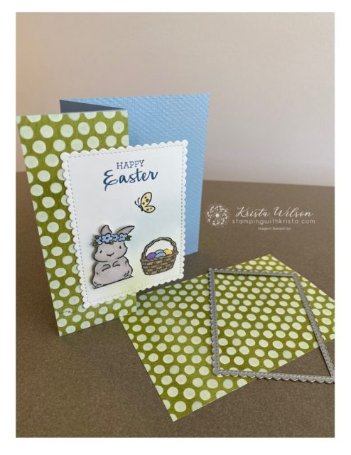 """Stampin' Up! Springtime Joy and Arrange a Wreath """"Happy Easter"""" words are used to make this card."""