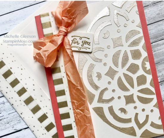 Stampin Up Stencils Washi Tape Peekaboo Peach Ribbon Embossing Paste Michelle Gleeson Stampinup SU