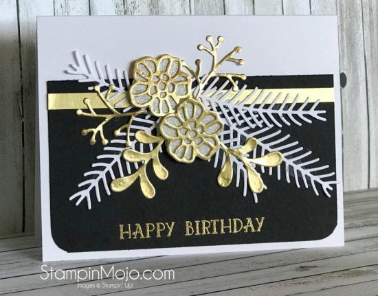 Stampin Up Pretty Pines Thinlits Rose Garden Thinlits Birthday Card Idea Michelle Gleeson Stampinup SU