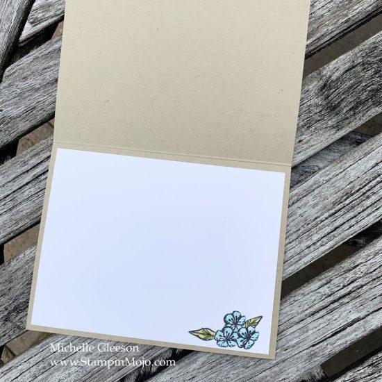 Stampin Up Bird Ballad DSP Honey Bee Wishes Die Birthday card inside view Michelle Gleeson Stampinup SU