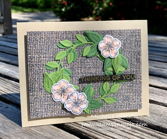 Stampin Up In Good Tast DSP Wreath Builder Dies Forever Blossoms Anytime card Michelle Gleeson FMS440 Stampinup SU