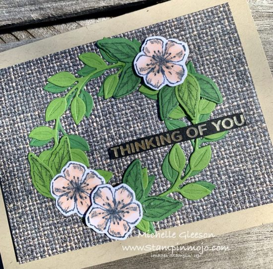 Stampin Up In Good Tast DSP Wreath Builder Dies Forever Blossoms Anytime card idea Michelle Gleeson FMS440 Stampinup SU