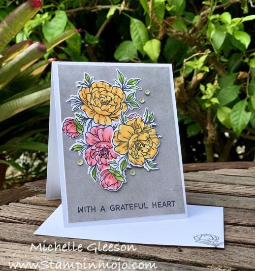 Neat Tangled Grateful Heart #FMS442 #TGIFC271 Thank you card ideas Michelle Gleeson Stampinmojo
