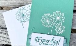 Stampin Up Just Jade Monochromatic Dandelion wishes Happiest of Birthdays Birthday Card Idea Michelle Gleeson Stampinup SU