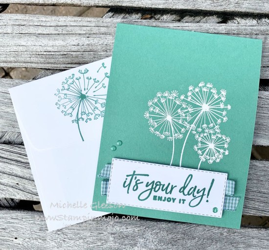 Stampin Up Just Jade Monochromatic Dandelion wishes Happiest of Birthdays Birthday Card Idea Michelle Gleeson Stampinup SU